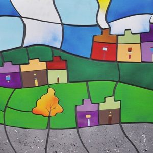 Code: 20752 Title: Mountain Houses Size: 24x48in. Medium: Acrylic on Wood Puzzle Relief