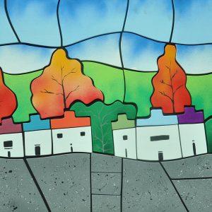 Code: 20894 Title: Mountain Houses Size: 24x48 Medium: Painture