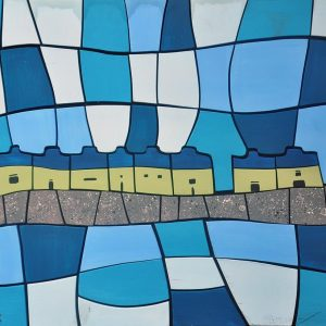 Code: 21014 Title: Mountain Houses Size: 24x28 Medium: Acrylic on Wood Puzzle Relief