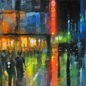 Code: ANM 006 Title: Nightlights / Avenida Size: 24 x 36  in Medium: Acrylic on Canvas Year: 2019
