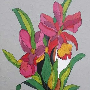 Code: CSR 010 Title: Pink Orchids Size: 18 inches x 24 inches Medium: Mixed Media