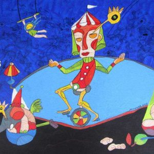 Code: CSR 030 Title: The Tightrope Walker Size: 24 inches x 36 inches Medium: Mixed Media