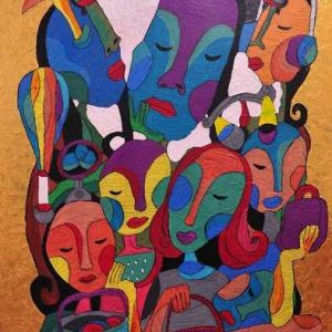 Code: CSR 056 Title: Eight Women Size: 24 inches x 36 inches Medium: Mixed Media