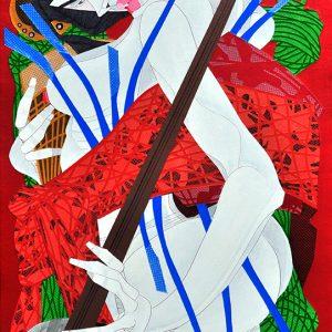 Title: Kabuki Size: 30 x 18 in Medium: Acrylic on Canvas Year : 2018