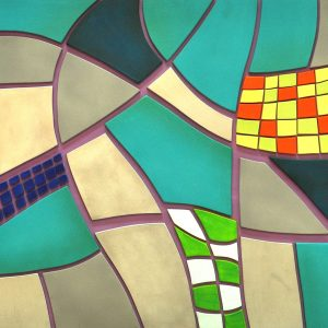 """""""Maze I""""  24 in x 48 in Acrylic on Wood Relief RLC 004"""