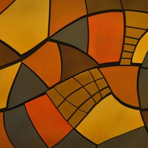 """""""Maze II""""  24 in x 48 in Acrylic on Wood Relief RLC 007"""