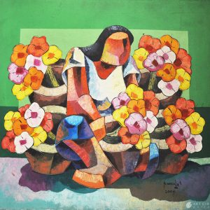 Code:0099 Title:Flower Vendor Size:36x36in Medium:AC