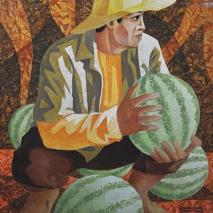 Code: 10609 Title: Watermelon Harvest Medium: Acrylic on Paper Dimension: 19.5 x 16.75 in