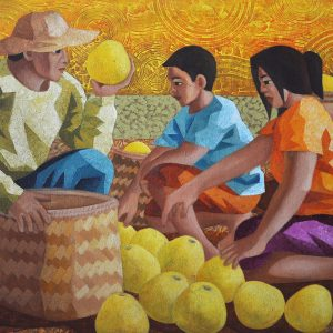 Code: 11536 Title: Melon Harvest Medium: Acrylic on Paper Dimension: 22x30 in