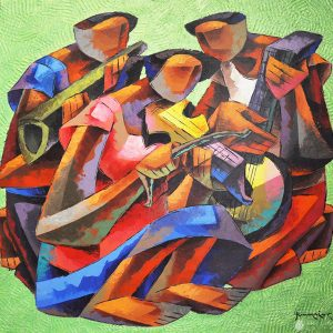 Code:15270 Title:Musician Green Size:36x36in Medium:AC