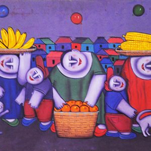Code: 15596 Title: Fruit Vendors Size: 24x57.5in Medium: Oil on Canvas