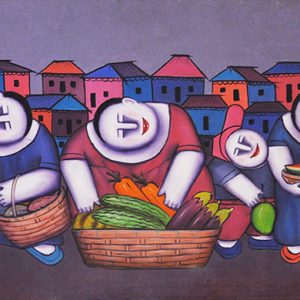 Code: 15809 Title: Fruit Vendors Size: 21x47in Medium: Oil on Canvas