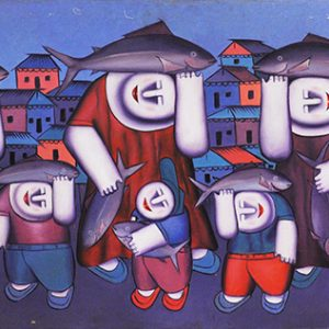 Code: 15832 Title: Fish Harvest Size: 24x50in Medium: Oil on Canvas