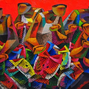 Code: 16005 TItle: Fish Harvest 2 Medium: Acrylic on Canvas Size: 36x60