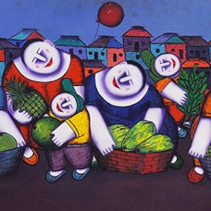 Code: 16119 Title: Fruit Vendors Size: 24x48in Medium: Oil on Canvas