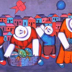 Code: 16185 Title: Fish Vendors Size: 22x48in Medium: Oil on Canvas