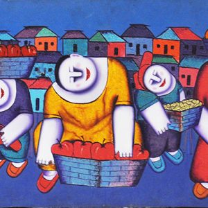 Code: 16262 Title: Vendors Size: 20x58in Medium: Oil on Canvas
