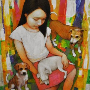 Code: 16305 Title: Playing with Dogs Dimension: 20x16in Medium: Acrylic on Canvas