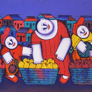 Code: 16637 Title: Fruit Vendors Size: 20x48in Medium: Oil on Canvas
