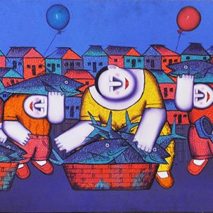 Code: 16685 Title: Fish Vendors Size: 23x48in Medium: Oil on Canvas