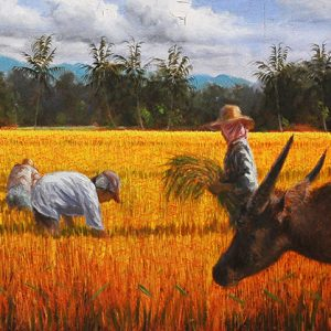 Code: 16691 Title: Rice Harvest Size: 15x60in Medium: Oil on Canvas