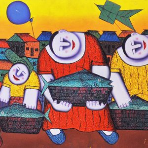 Code: 16820 Title: Fish Vendors Size: 20x48in Medium: Oil on Canvas