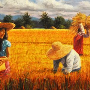Code: 17465 Title: Awit 128:1-2 Size: 20x60in Medium: Oil on Canvas