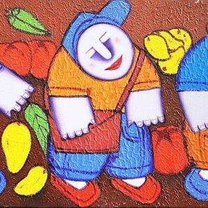 Code: 17609 Title: Pamilihang Bayan Size: 10x24in Medium: Oil on Canvas