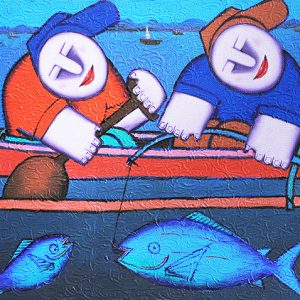 Code: 17640 Title: Fish Harvest Size: 12x18in Medium: Oil on Canvas