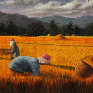 Code: 17686 Title: Rice Harvest Size: 20x60in Medium: Oil on Canvas