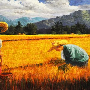 Code: 17737 Title: Rice Harvest Size: 28x60in Medium: Oil on Canvas