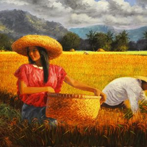Code: 17771 Title: Rice Harvest Size: 28x60in Medium: Oil on Canvas