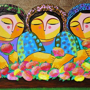 Code: 17820 Title: Tres Marias with Santan Size: 24x48in Medium: Oil on Canvas