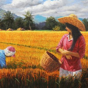 Code: 17826 Title: Rice Harvest Size: 18x64in Medium: Oil on Canvas