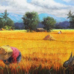Code: 17827 Title: Rice Harvest Size: 18x24in Medium: Oil on Canvas