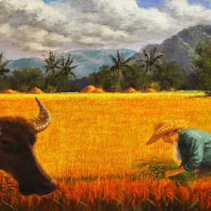 Code: 17828 Title: Rice Harvest Size: 24x57in Medium: Oil on Canvas