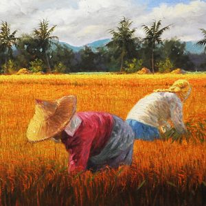 Code: 17851 Title: Rice Harvest Size: 18x64in Medium: Oil on Canvas