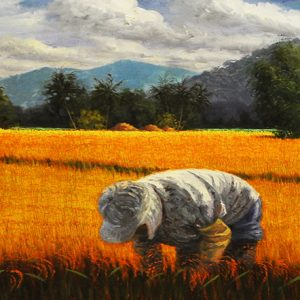 Code: 17948 Title: Rice Harvest Size: 24x72in Medium: Oil on Canvas