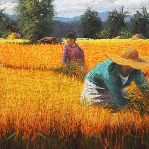 Code: 17987 Title: Rice Harvest Size: 18x64in Medium: Oil on Canvas