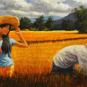 Code: 17993 Title: Rice Harvest Size: 24x72in Medium: Oil on Canvas