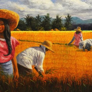Code: 18013 Title: Rice Harvest Size: 24x72in Medium: Oil on Canvas