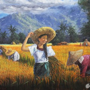 Code: 18091 Title: Rice Harvest Size: 22x32in Medium: Oil on Canvas