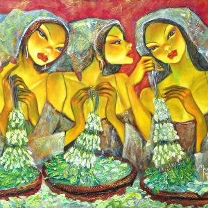 Code: 18329 Title: Sampaguita Vendor Medium: Acrylic on Canvas Dimension: 36in x 48in