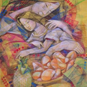 Code: 18467 Title: Mother and Child Medium: Pastel on Paper Dimension: 28 x 22 in
