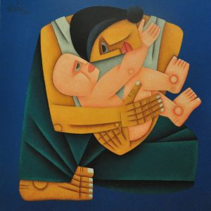 Code: 18760 Title: Mother and Child Medium: Oil on Canvas Dimension: 30in x 30in