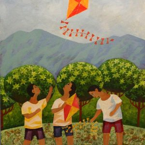 Code: 19386 Title: Kite Flyers Medium: Acrylic & Watercolor on Paper Dimension: 11in x 16in