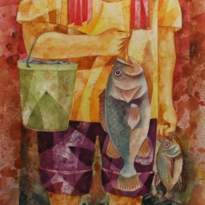 Code: 19396 Title: The Fisherman Medium: Acrylic & Watercolor on Paper Dimension: 12in x 18in