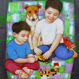 Code: 18838 Title: Children at Play Dimension: 20x16in Medium: Acrylic on Canvas