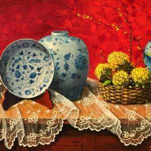 Code: 19430 Title: The Red Ikebana and Blue Celadon Jars Size: 24 x 48 in Medium: Acrylic on Canvas