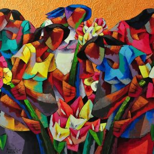 Code: 18935 Title: Flower Picker Size: 36 x 60 inches Medium: Acrylic on Canvas